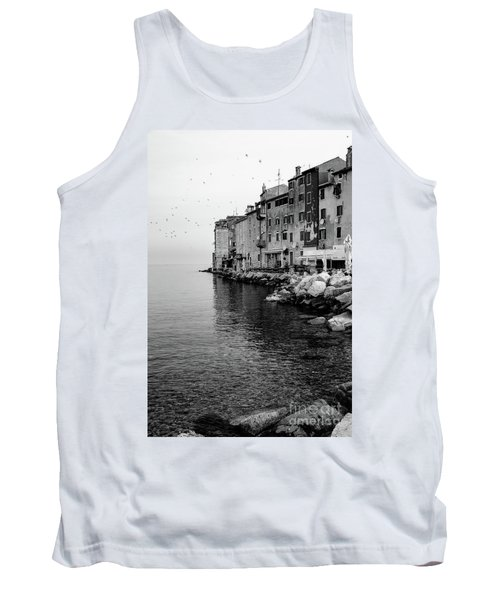 Black And White - Rovinj Venetian Buildings And Adriatic Sea, Istria, Croatia Tank Top