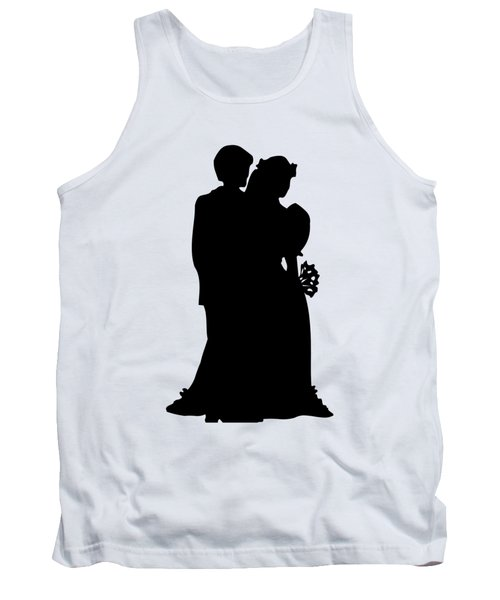 Black And White Silhouette Of A Bride And Groom Tank Top
