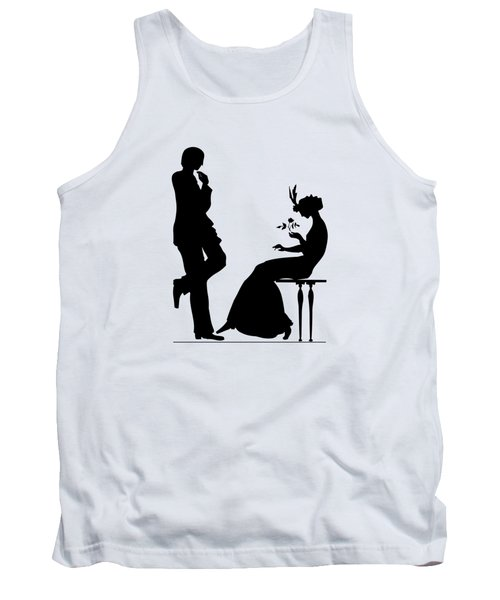 Black And White Silhouette Of A Man Giving A Woman A Flower Tank Top