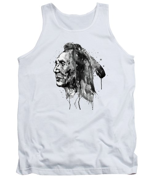 Tank Top featuring the mixed media Black And White Sioux Warrior Watercolor by Marian Voicu