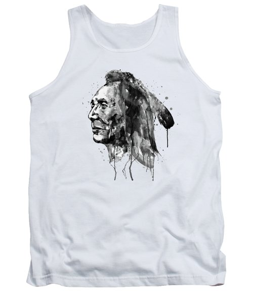 Black And White Sioux Warrior Watercolor Tank Top