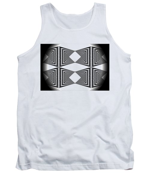 Black And White T-shirt Tank Top by Isam Awad
