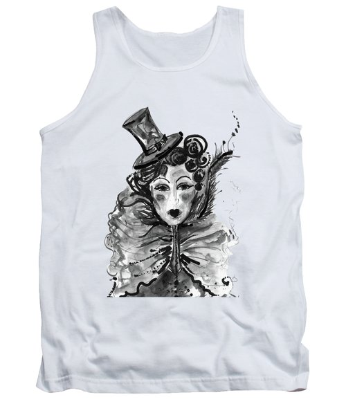Black And White Watercolor Fashion Illustration Tank Top