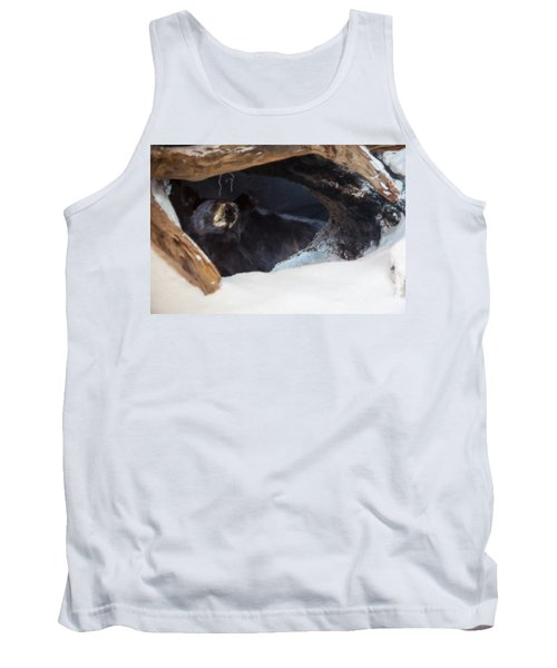 Tank Top featuring the digital art Black Bear In Its Winter Den by Chris Flees
