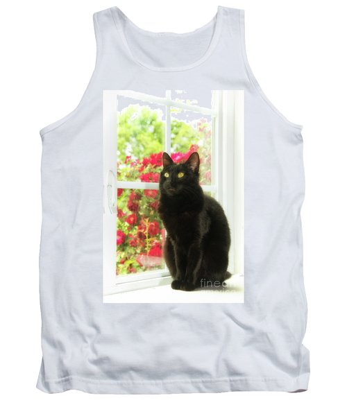 Black Cat In White Frames Tank Top