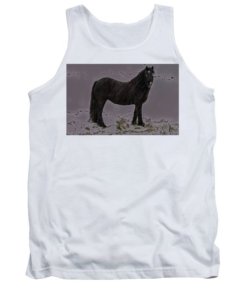 Black Horse In The Snow Tank Top