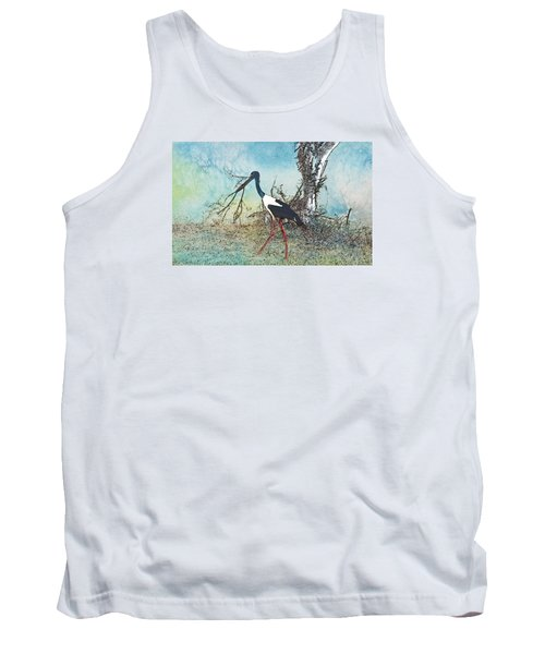 Black Neck Stork  Tank Top by Manjot Singh Sachdeva
