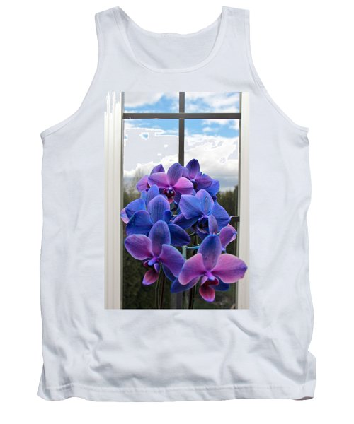 Tank Top featuring the photograph Black Sapphire Orchids  by Aaron Berg