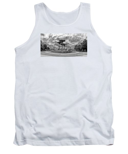 Black White Panorama Of Texas Christian University Campus Commons And Frog Fountain - Fort Worth  Tank Top