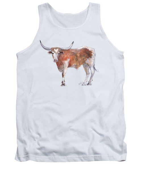 Bless Your Heart Of Texas Longhorn A Watercolor Longhorn Painting By Kathleen Mcelwaine Tank Top