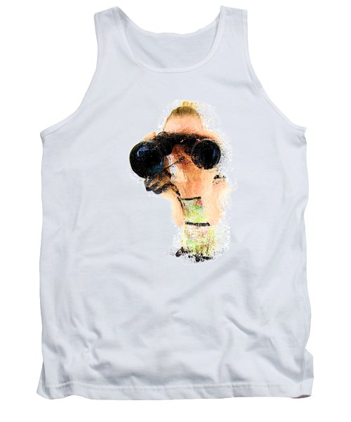 Blond Woman With Binoculars  Tank Top