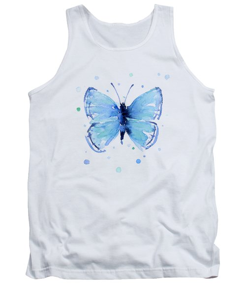 Blue Abstract Butterfly Tank Top