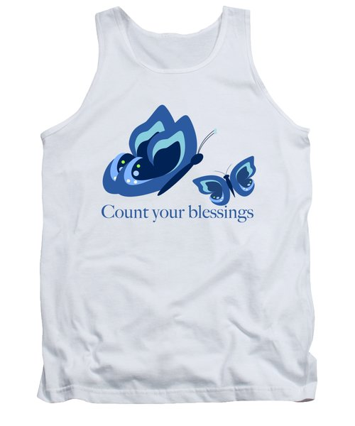 Blue Butterflies Count Your Blessings Tank Top