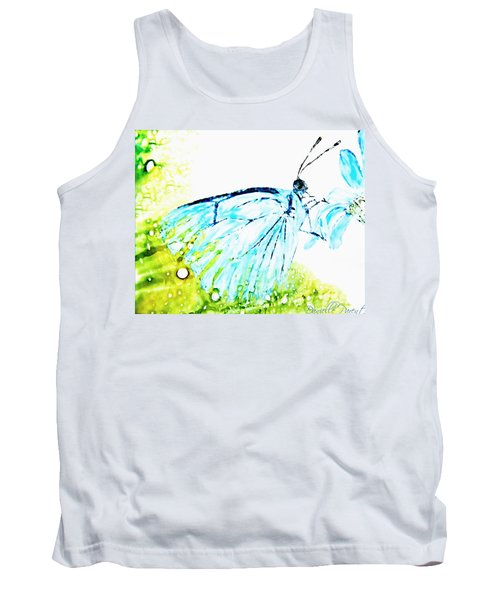 Blue Butterfly On Daisy Alcohol Inks Tank Top by Danielle  Parent