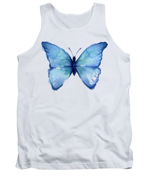 Blue Butterfly Watercolor Tank Top