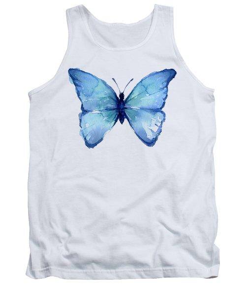 Blue Butterfly Watercolor Tank Top