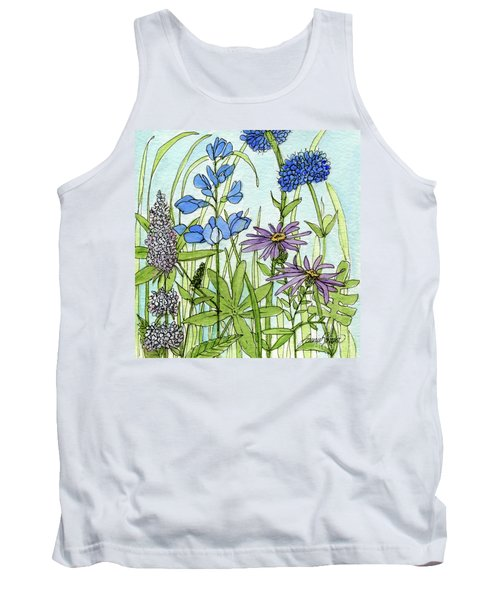 Tank Top featuring the painting Blue Buttons by Laurie Rohner