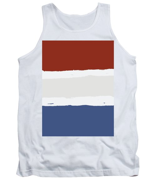Blue Cream Red Stripes Tank Top