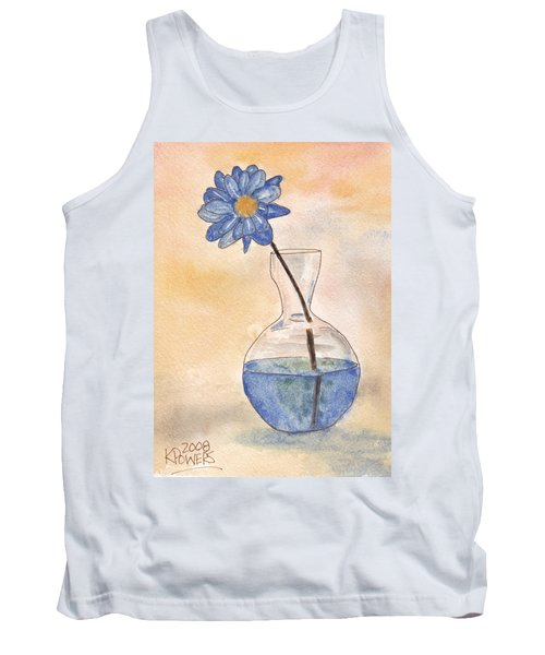 Blue Flower And Glass Vase Sketch Tank Top