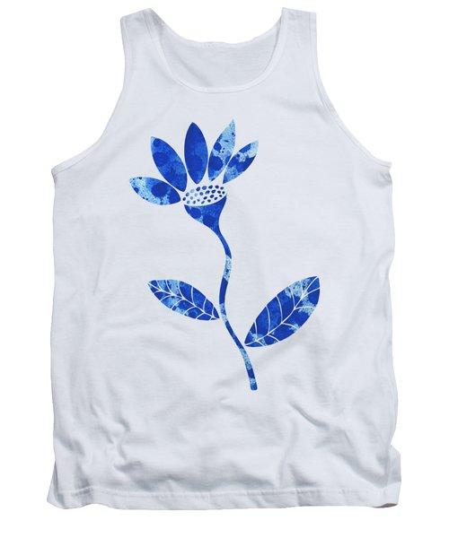 Blue Flower Tank Top by Frank Tschakert