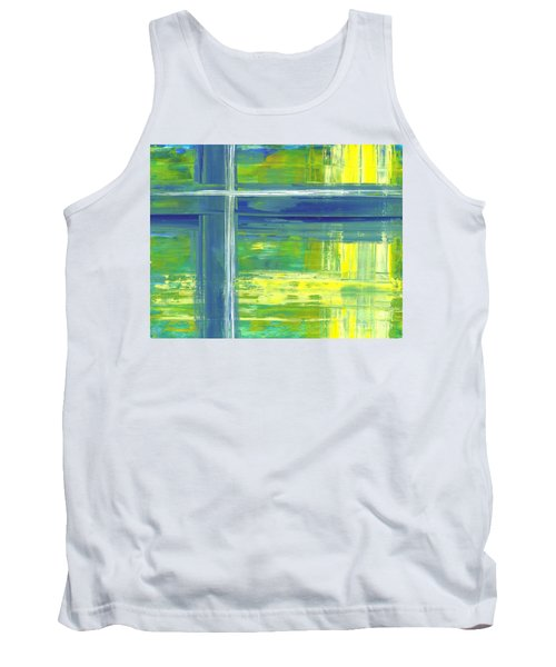 Blue Geometric Yellow Tank Top