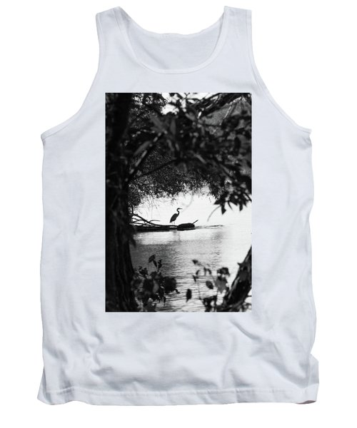 Blue Heron In Black And White. Tank Top