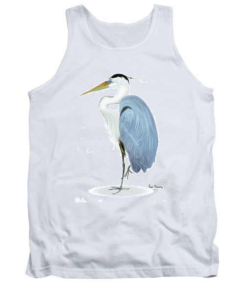 Blue Heron With No Background Tank Top by Anne Beverley-Stamps