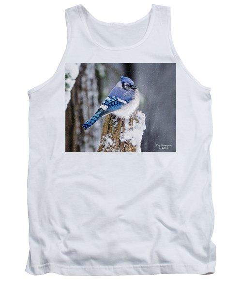 Blue Jay On Snowy Post Tank Top