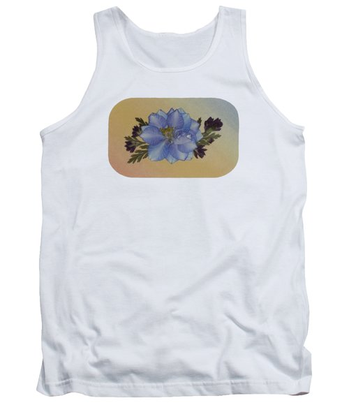 Blue Larkspur And Oregano Pressed Flower Arrangement Tank Top