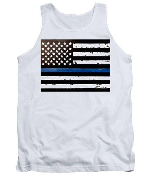 Tank Top featuring the painting Blue Line Flag by Denise Tomasura