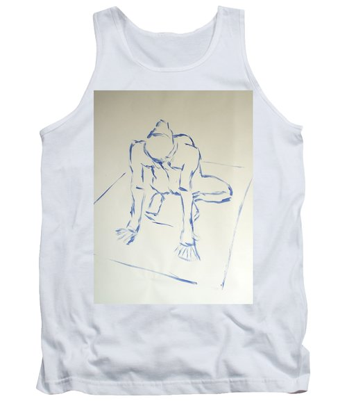 Blue Line Painting Of A Male Nude Kneeling On His Heels And Resting On Hands Which Are Behind Him Tank Top