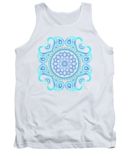 Tank Top featuring the painting Blue Lotus Mandala by Tammy Wetzel