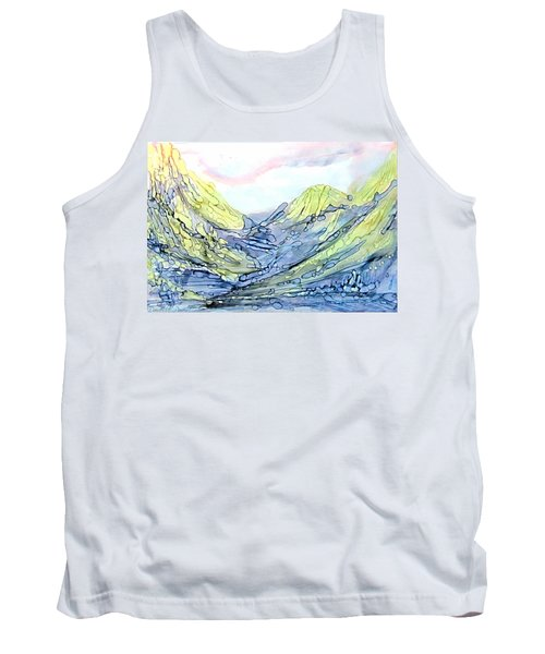 Blue Mountains Alcohol Inks  Tank Top by Danielle  Parent