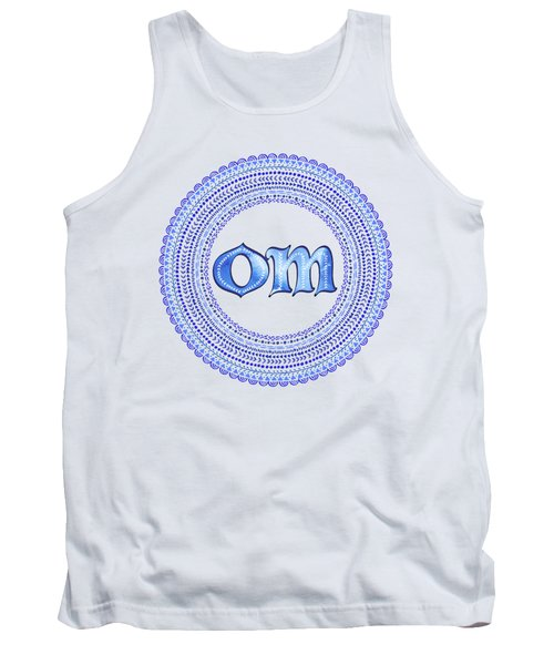 Tank Top featuring the painting Blue Om Mandala by Tammy Wetzel