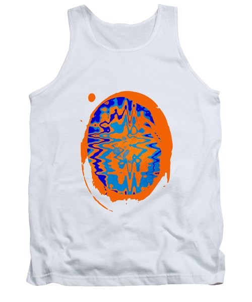 Blue Orange Abstract Art Tank Top