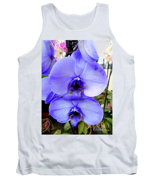 Blue Phalaenopsis Orchid Tank Top