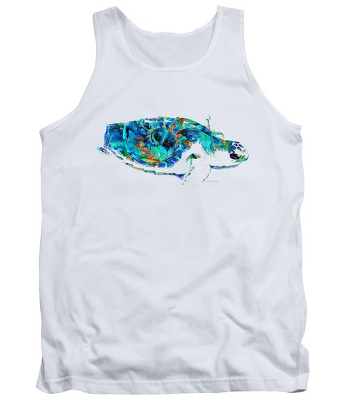 Blue Sea Turtle By Sharon Cummings  Tank Top