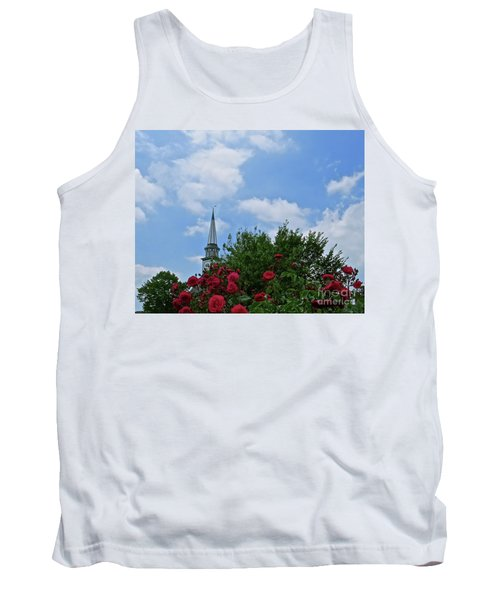 Tank Top featuring the photograph Blue Sky And Roses by Nancy Patterson