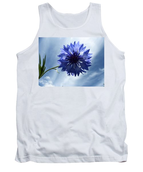 Blue Sky Blue Flower Tank Top by Tina M Wenger