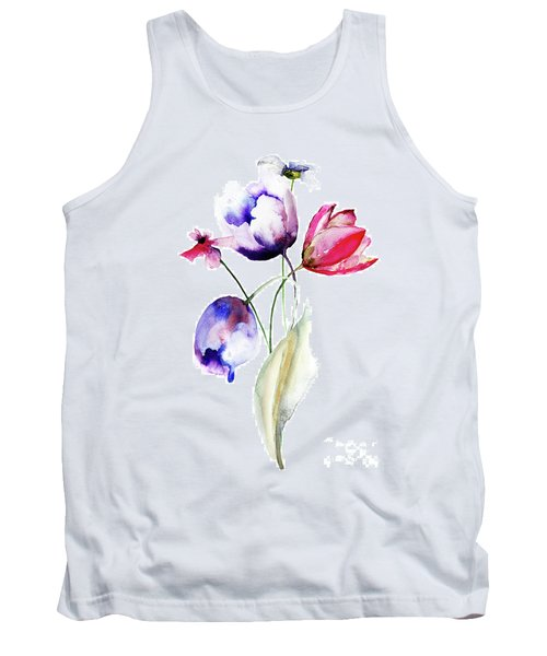 Blue Tulips Flowers With Wild Flowers Tank Top