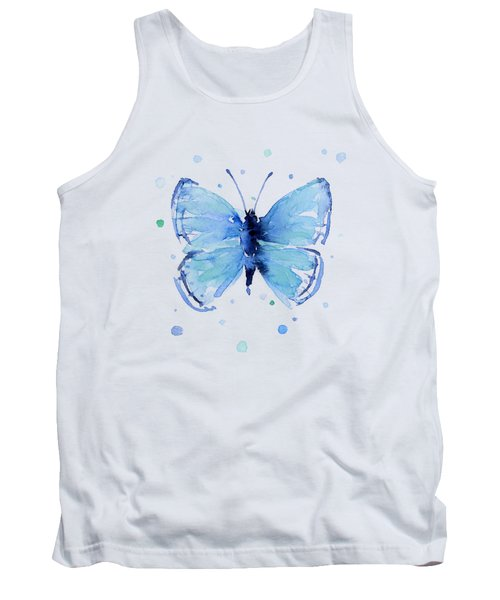 Blue Watercolor Butterfly Tank Top