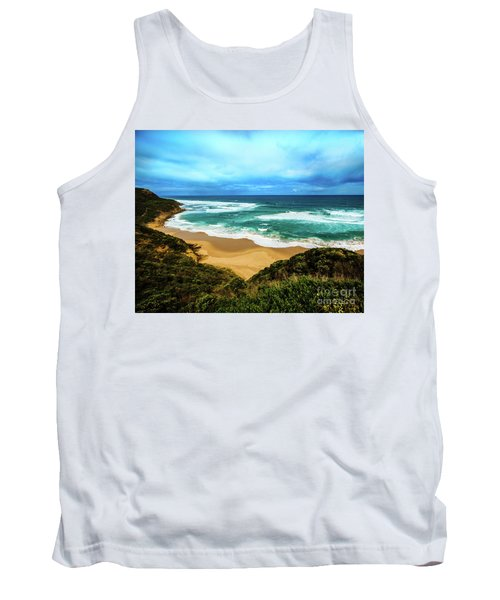 Tank Top featuring the photograph Blue Wave Beach by Perry Webster