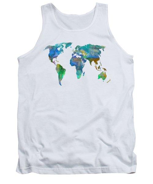 Blue World Transparent Map Tank Top