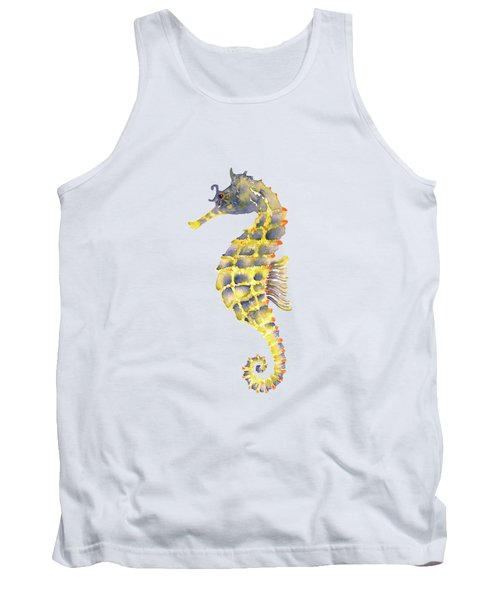 Blue Yellow Seahorse - Square Tank Top by Amy Kirkpatrick
