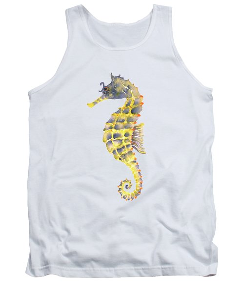 Blue Yellow Seahorse - Vertical Tank Top by Amy Kirkpatrick