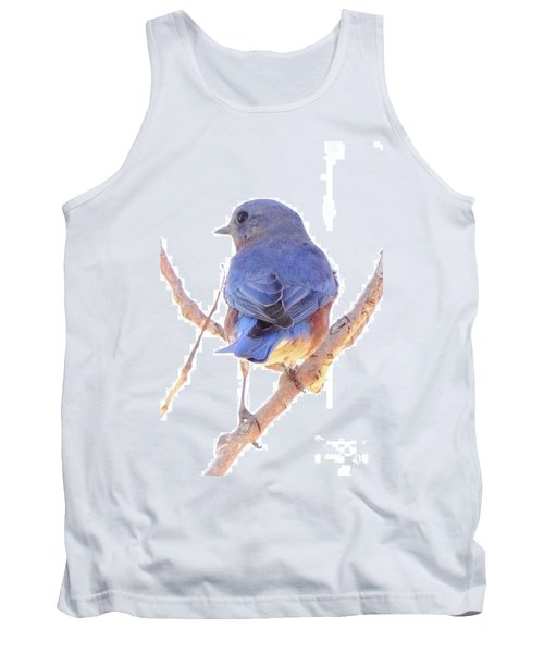 Bluebird On White Tank Top by Robert Frederick