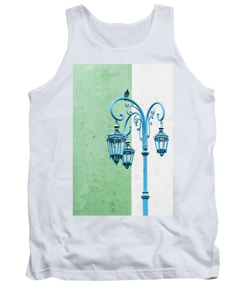 Blue,green And White Tank Top