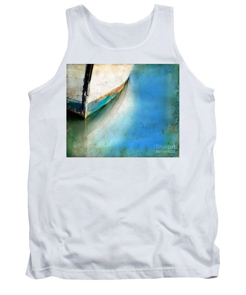 Bow Of An Old Boat Reflecting In Water Tank Top by Jill Battaglia