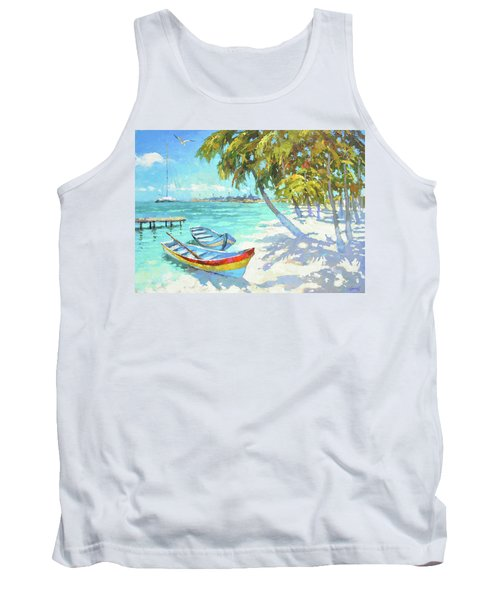 Tank Top featuring the painting Boats  by Dmitry Spiros