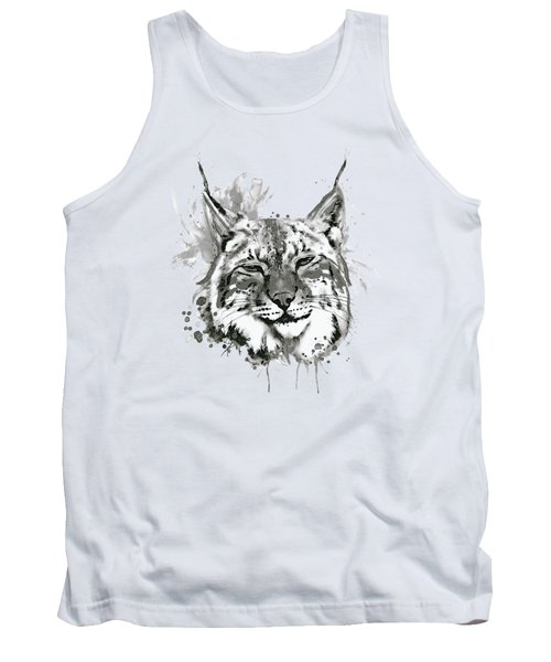 Bobcat Head Black And White Tank Top